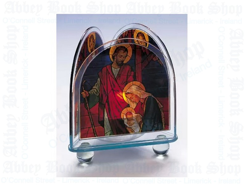 Nativity Glass Votive Light Candle Holder