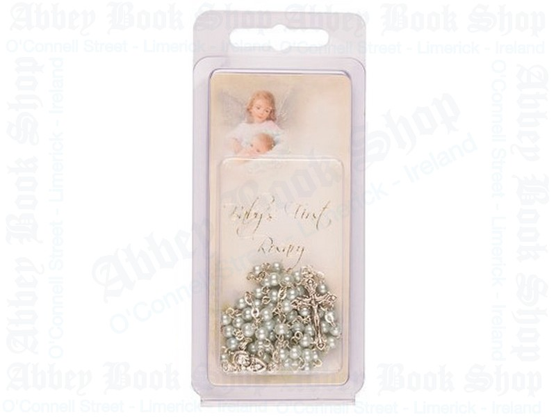Baby Rosary Beads – Glass/Small & Prayer Card/Blue