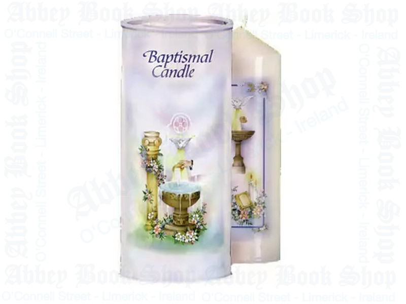 Baptismal Candle 7″ In Cylinder (Boxed)