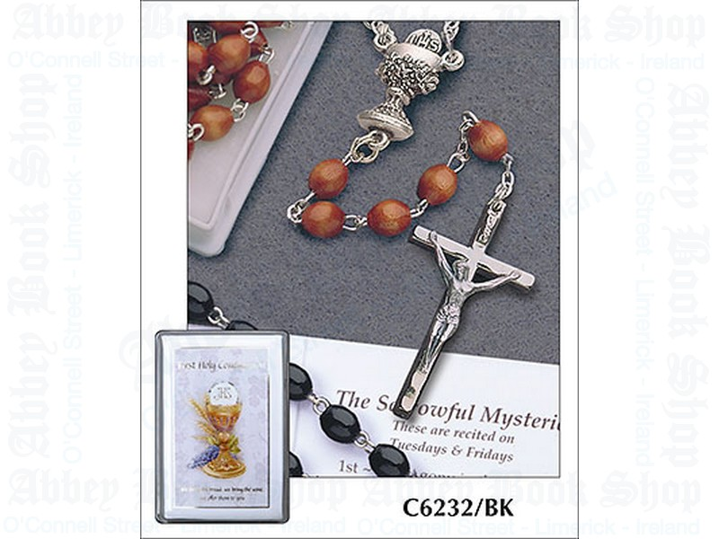 Communion Rosary Beads – Wood/Black