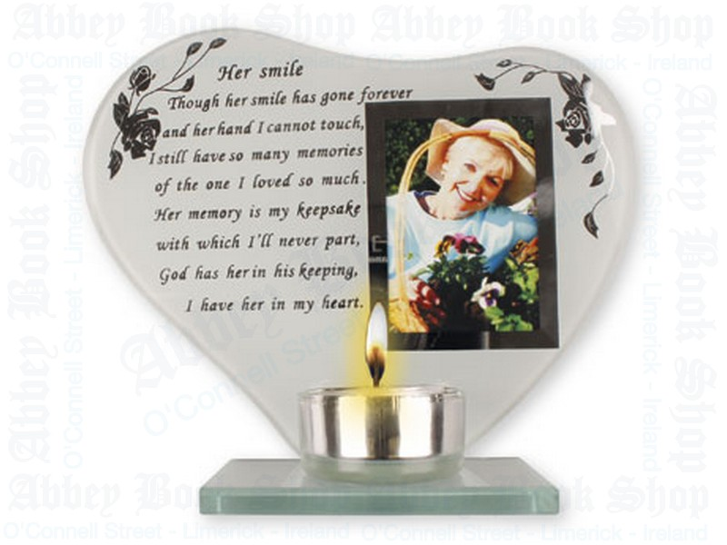 "Glass "" Her Smile Plaque"" – Votive Holder"