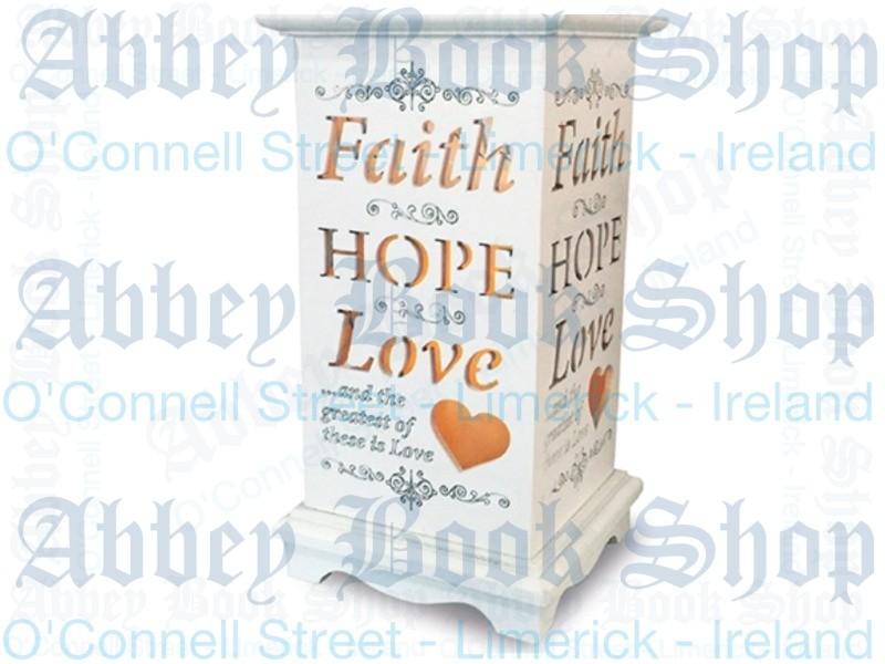 Wood Lantern Candle – Faith Hope Love
