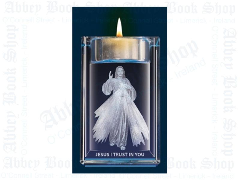 Crystal Block – Votive Holder – Divine Mercy